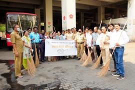 11.04.2018 - Swachh Bharat Abhiyaan organized at PMPML Bus Depot, Pune Station, Pune