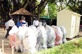 12.04.2018 - Donation of 15 Penguin shape dustbins and 2 portable toilets for women to Empress Garden, Camp, Pune. Program was organized on 12th April 2018.