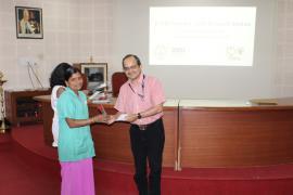 Dr Samiran Panda, Director ICMR-NARI,  felicitating housekeeping staff.