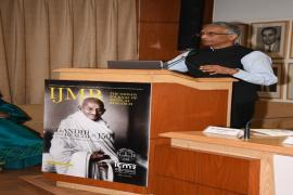 "Shri Parmeshwaran Iyer, Secretary, DWS share his views to people in Makarand Paranjape, Director, IIAS Shimla addresses in Symposium on ""Gandhi & Health@150 at ICMR Hqrs., New Delhi"