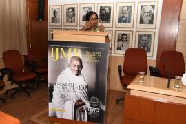 "Prof. Sangeetha Menon, NIAS, addresses in Symposium on ""Gandhi & Health@150 at ICMR Hqrs., New Delhi"