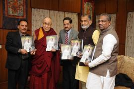 "Prof. Balram Bhargava, DG, ICMR, Spiritual leader Shri Dalai Lama and other delegates unveil ""Gandhi & Health@150 in Dharamshala of Himachal Pradesh"