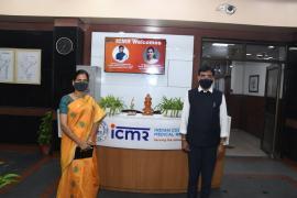 Hon'ble Cabinet Minister for Health and Family Welfare, Govt of India Shri Mansukh Mandaviya and Hon'ble Minister of State for Health and Family Welfare, Govt of India Dr Bharati Pravin Pawar visited ICMR New Delhi on 02/09/2021