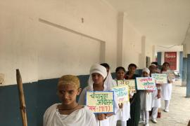 Gandhiji's movements over the year enacted by students