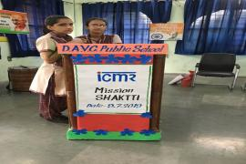 Mission SHAKTTI & ICMR logo hand painted by students