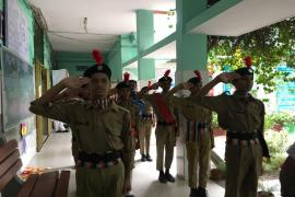 NCC cadets performing welcome salute