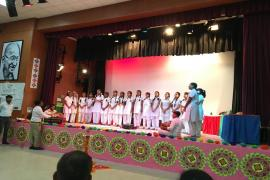 School students presenting a song on theme Gandhi