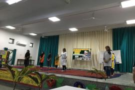 Students performing a short play on Gandhi