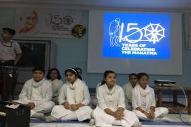 Student performing on Vaishnav Jan